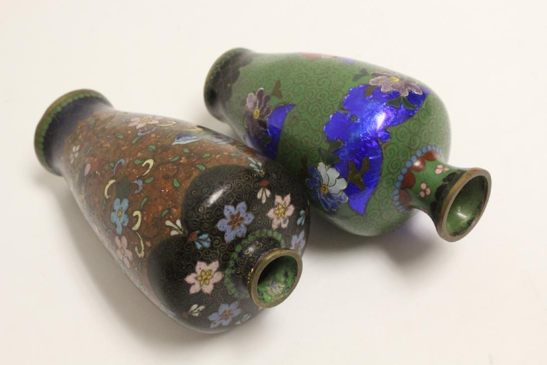2 Japanese antique cloisonne vases - 10