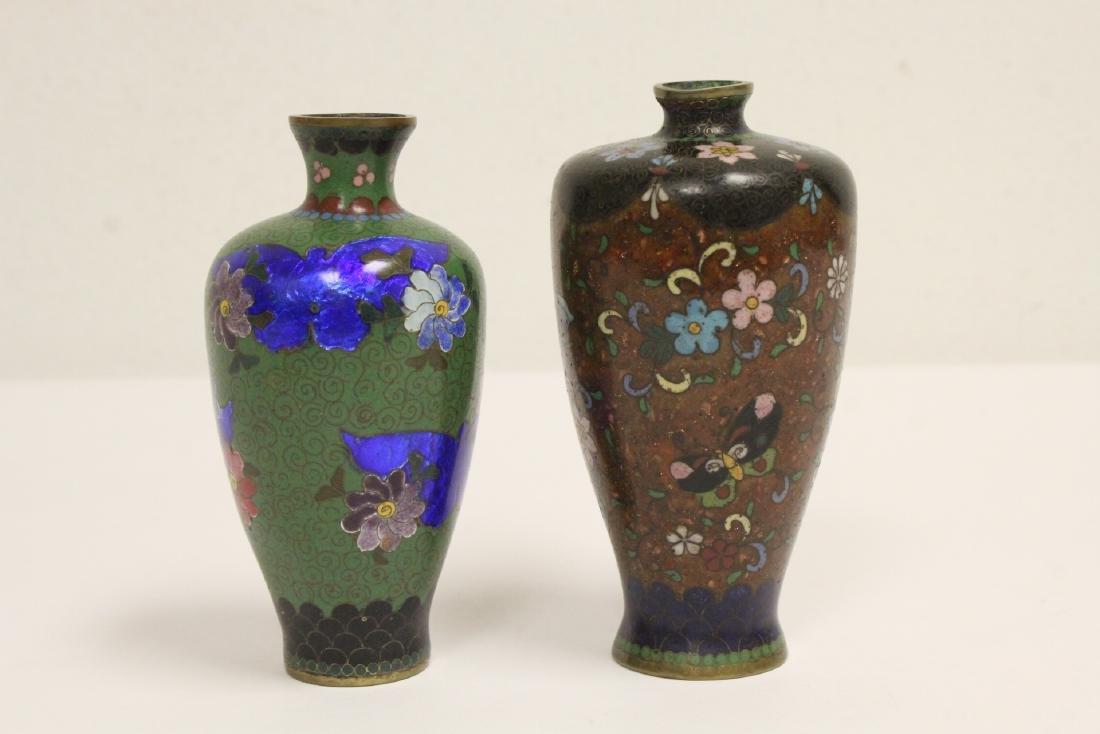 2 Japanese antique cloisonne vases