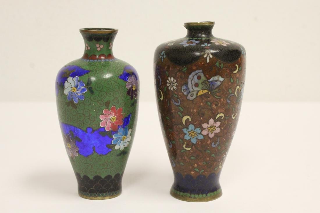 2 Japanese antique cloisonne vases - 2