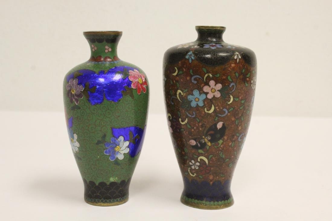 2 Japanese antique cloisonne vases - 3