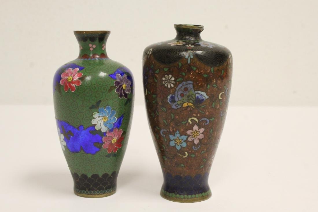 2 Japanese antique cloisonne vases - 4