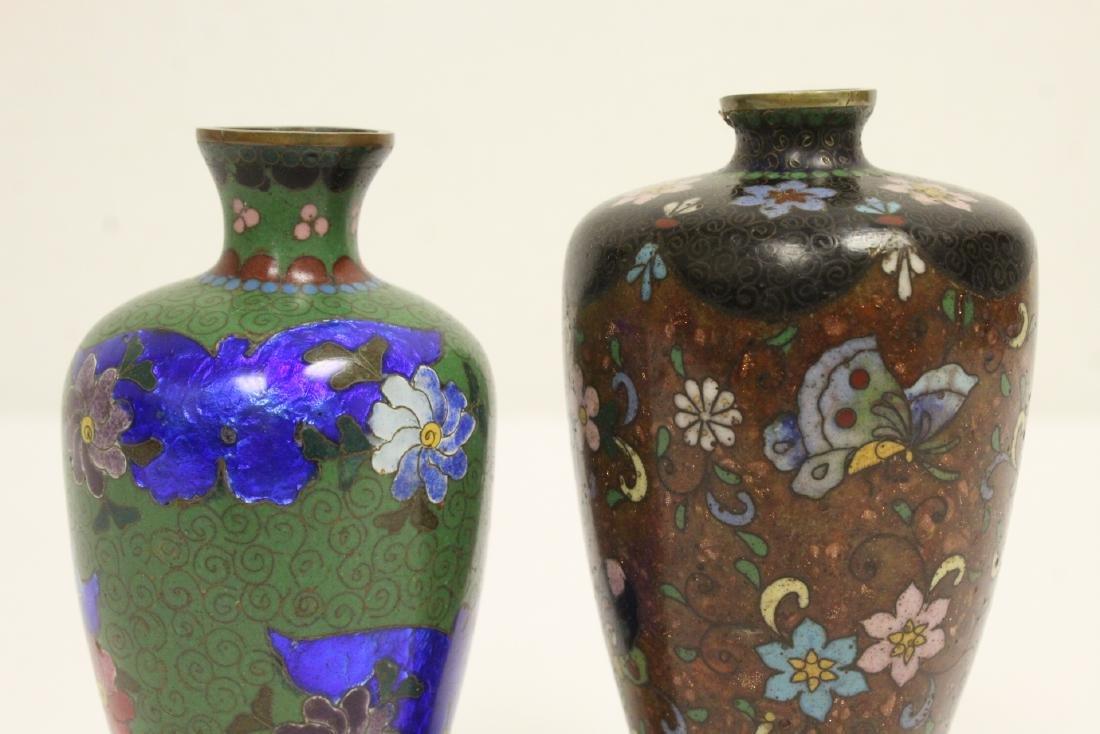 2 Japanese antique cloisonne vases - 6