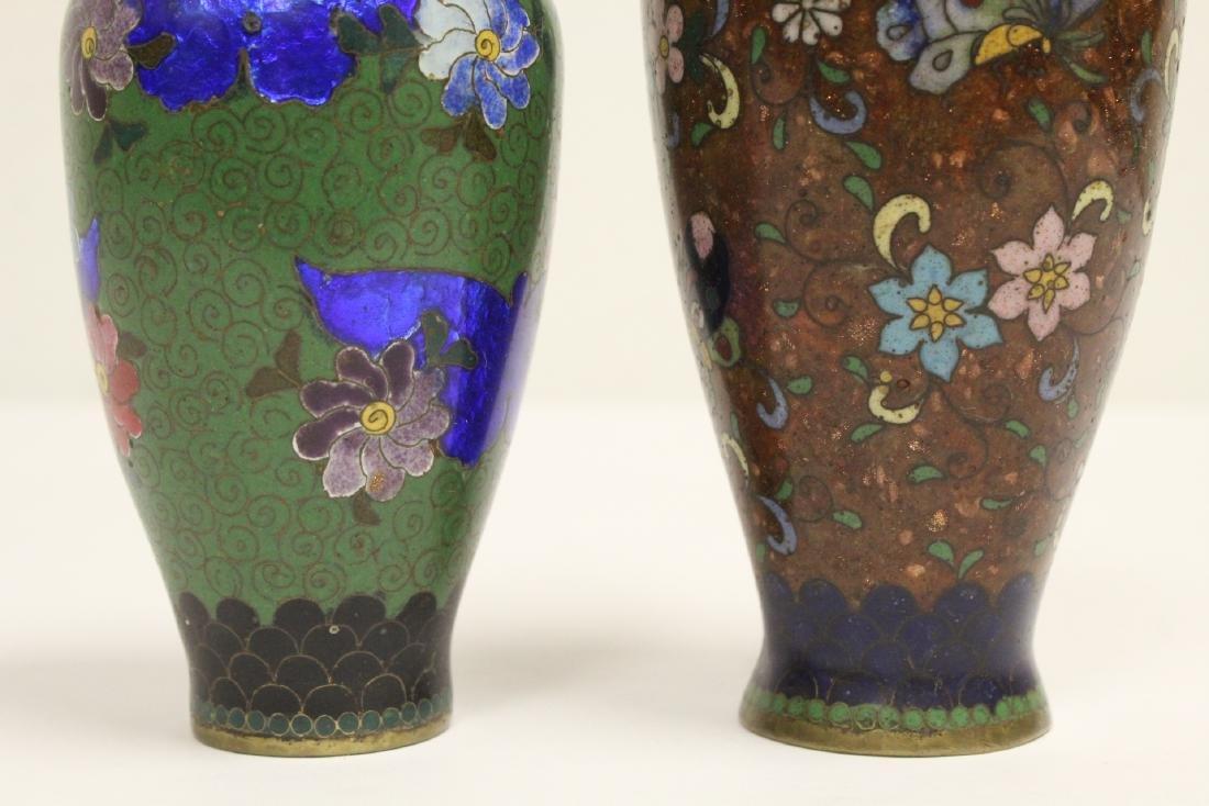 2 Japanese antique cloisonne vases - 7