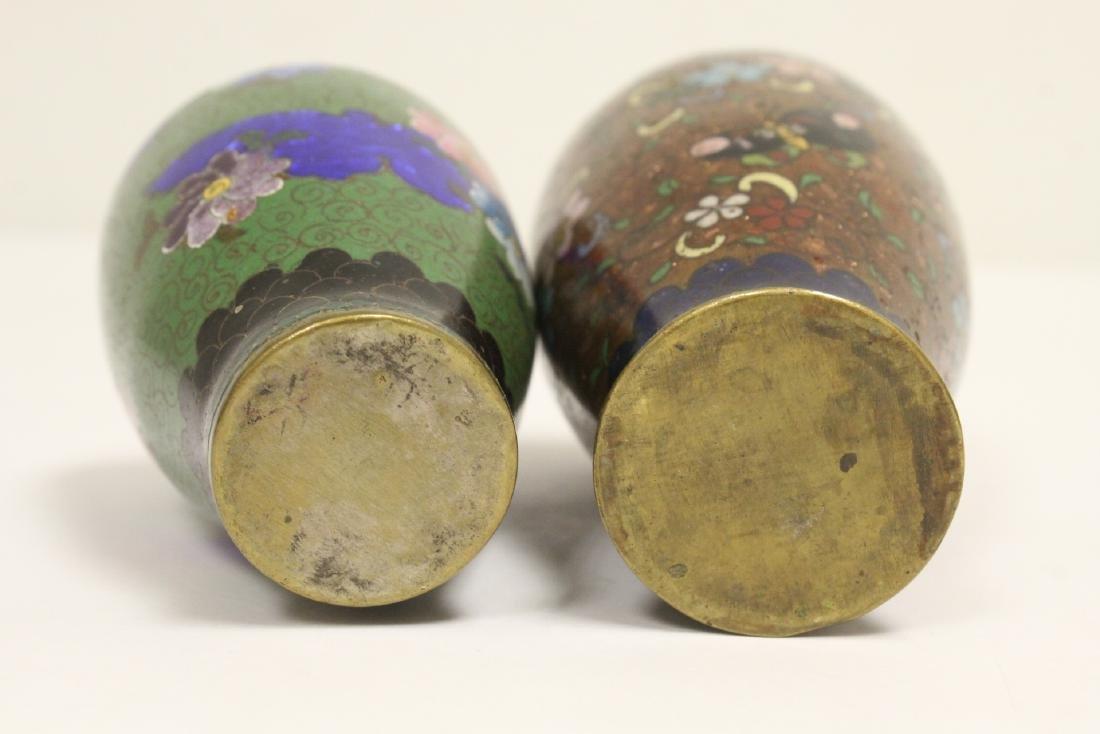 2 Japanese antique cloisonne vases - 8