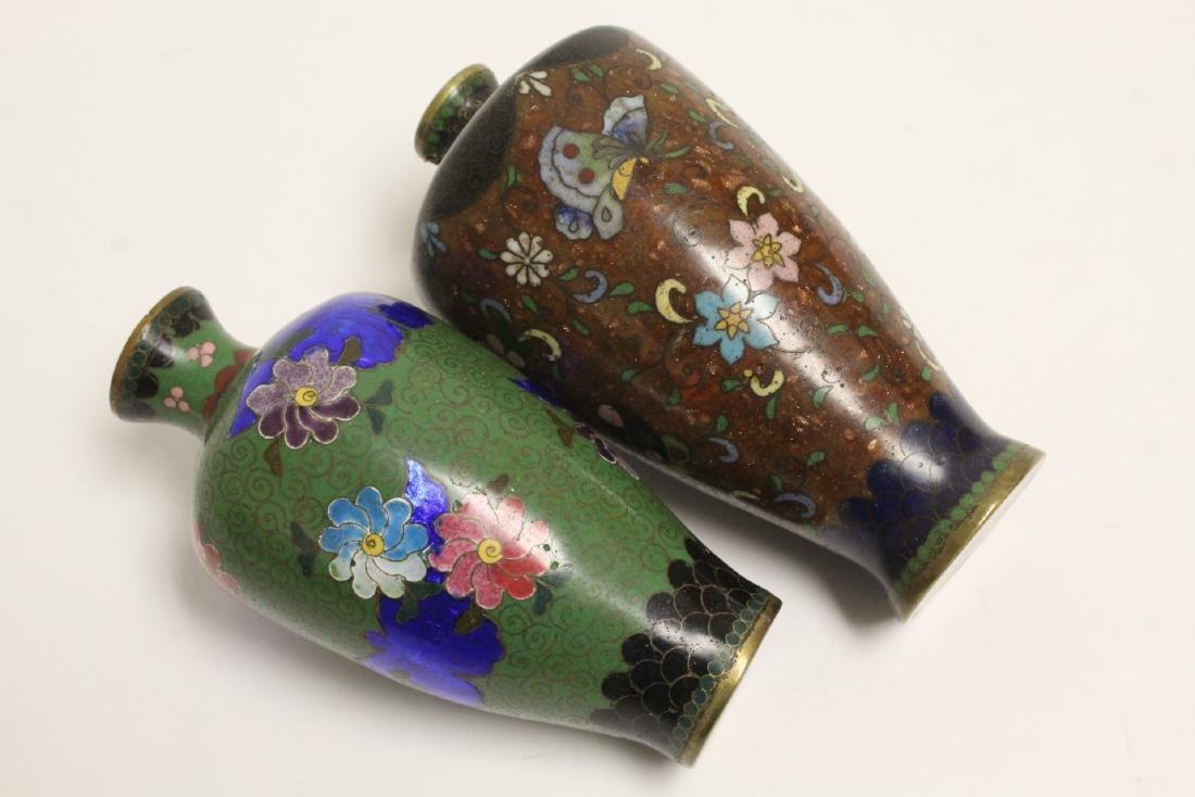 2 Japanese antique cloisonne vases - 9