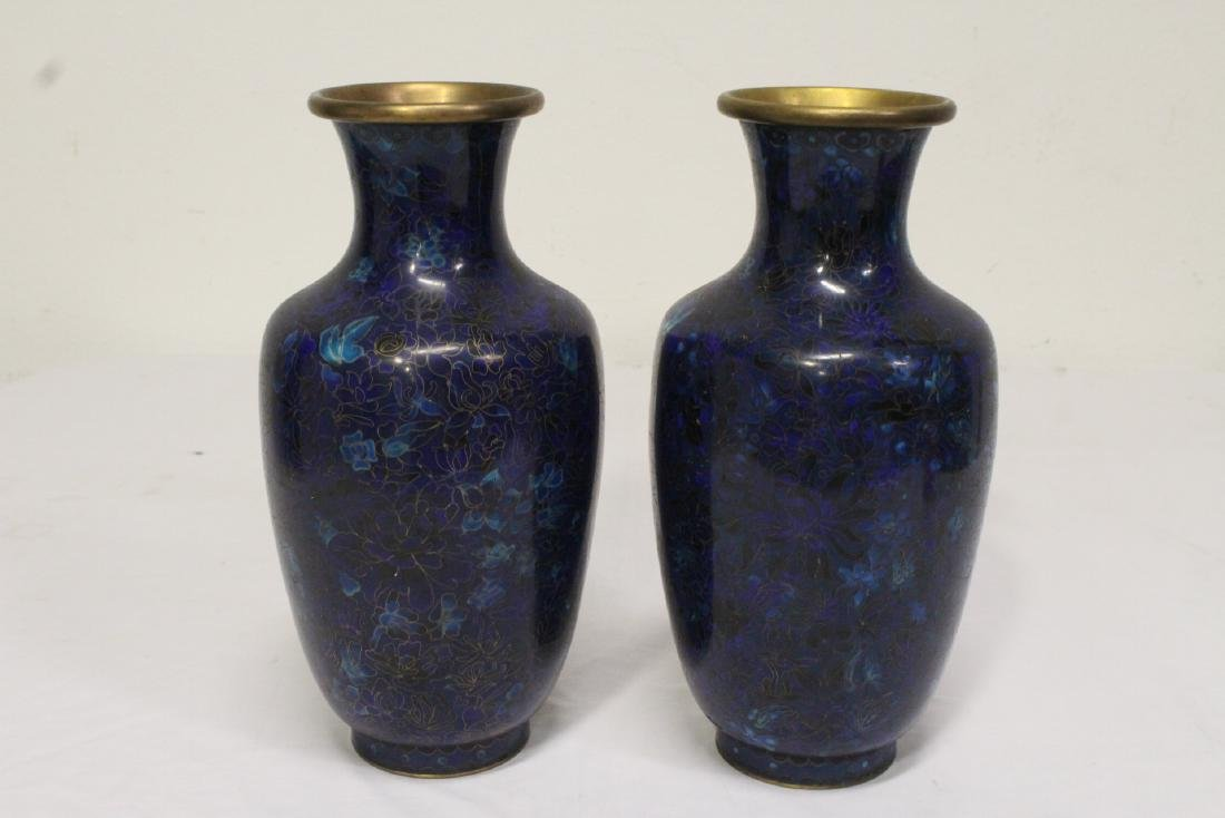 Pair Chinese early 20th century cloisonne vases