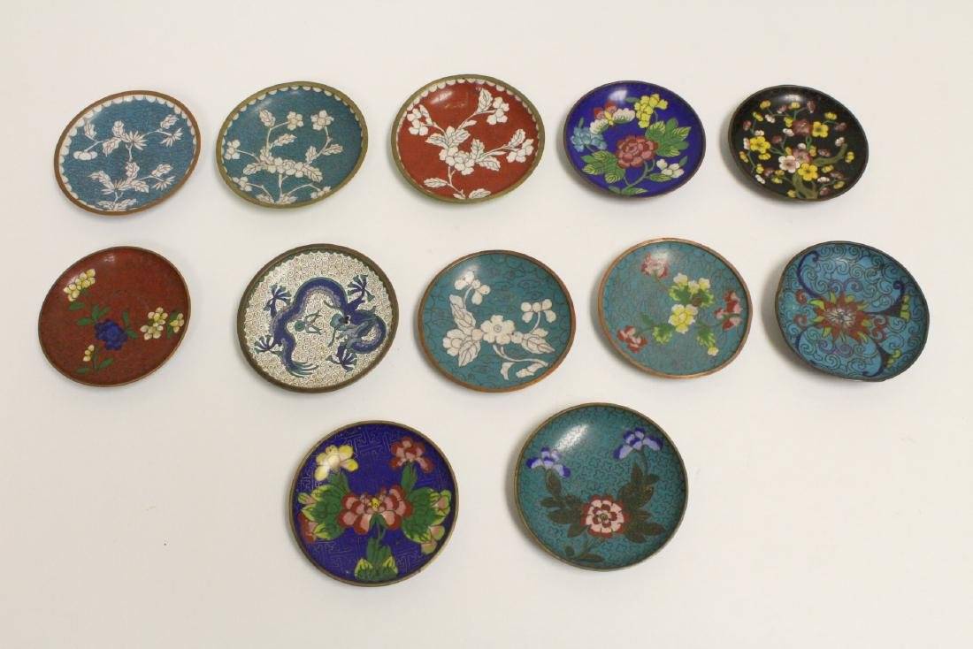 12 Chinese cloisonne small plates