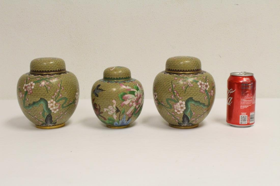 3 Chinese cloisonne covered jars