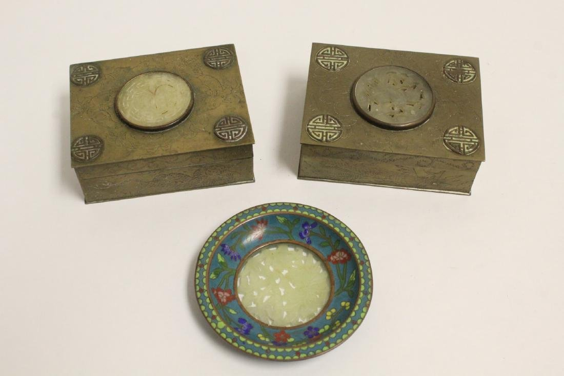 2 Chinese brass boxes, and a Chinese cloisonne plate