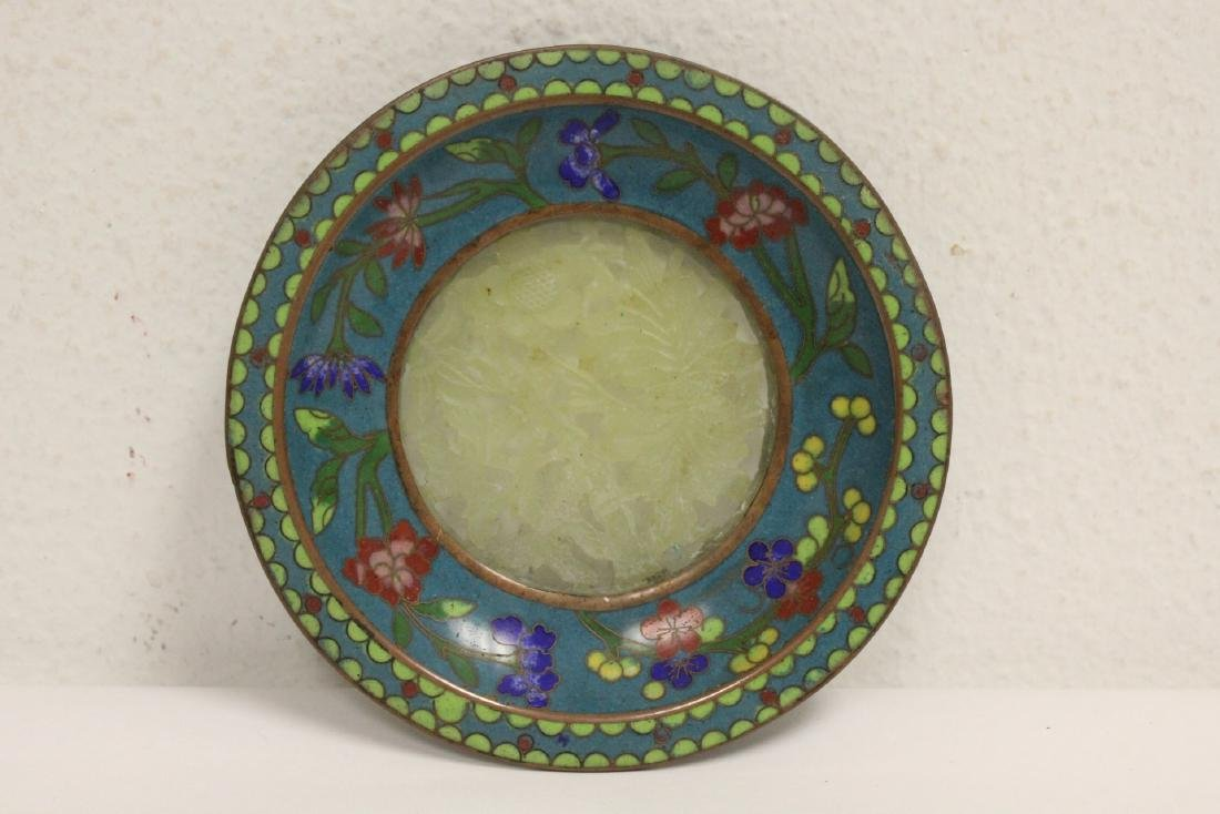 2 Chinese brass boxes, and a Chinese cloisonne plate - 2