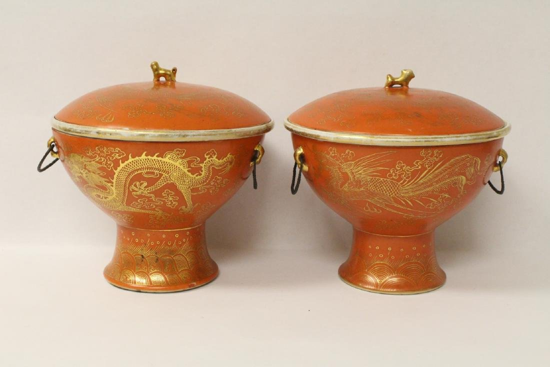 Pair Chinese antique covered compote