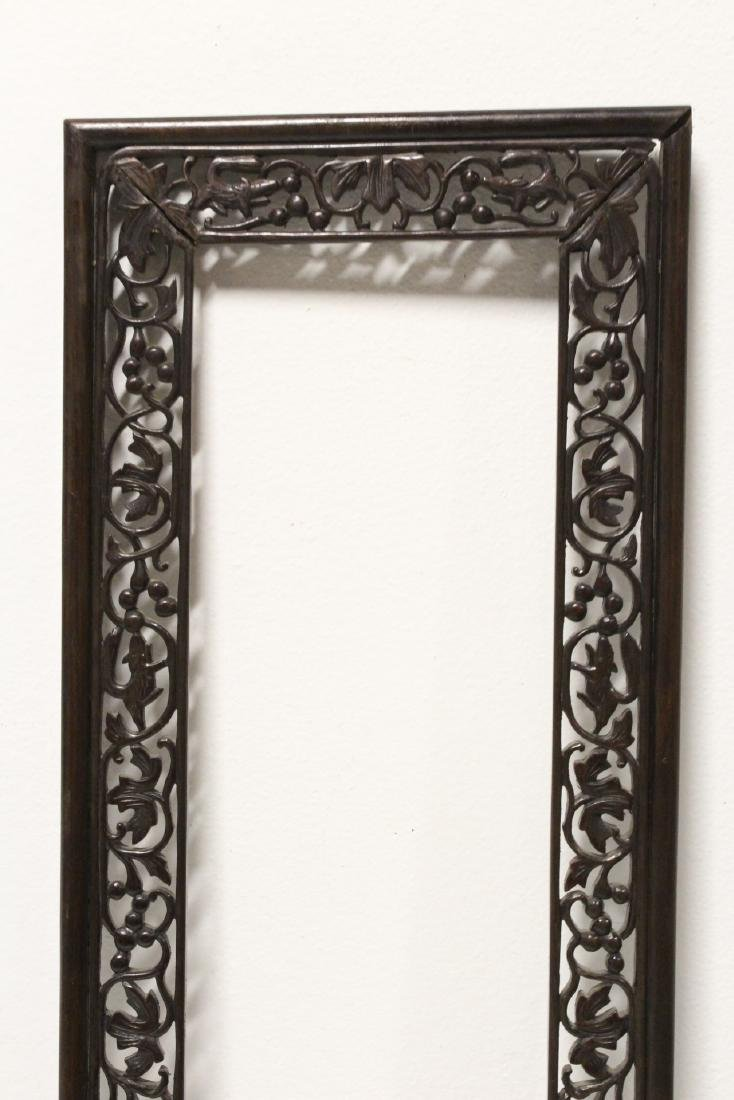 Pair Chinese rosewood frames - 10
