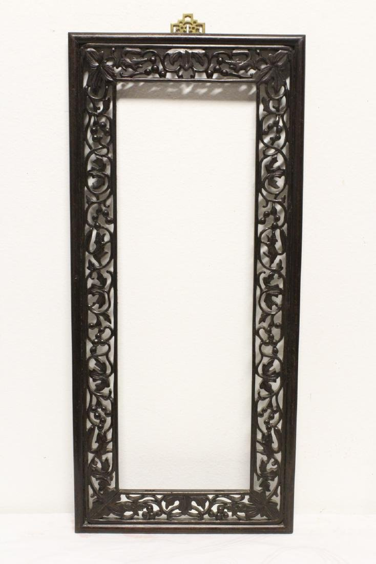 Pair Chinese rosewood frames - 4