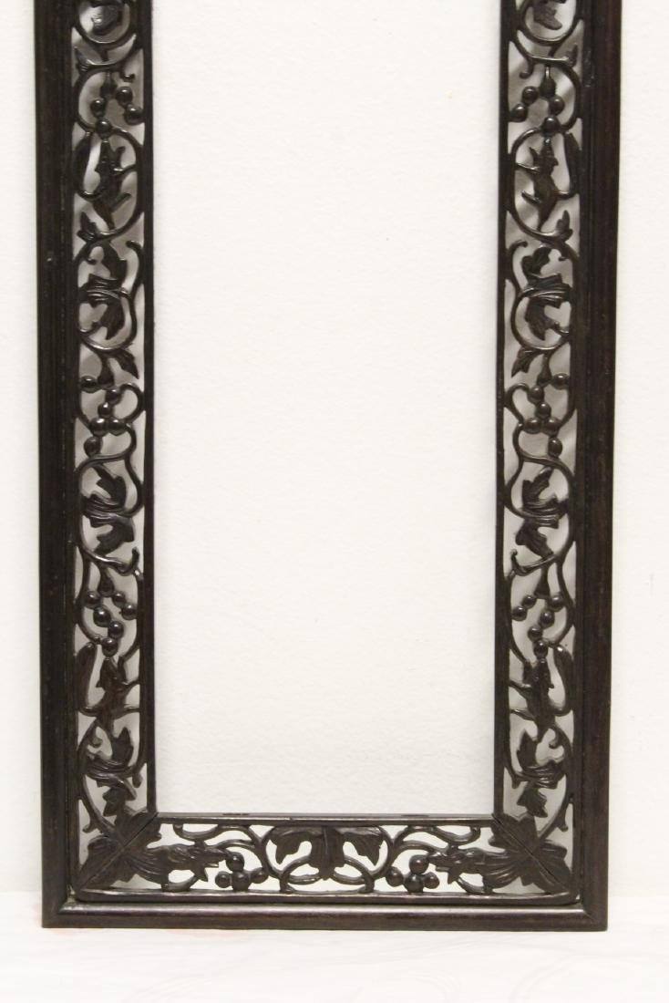 Pair Chinese rosewood frames - 5