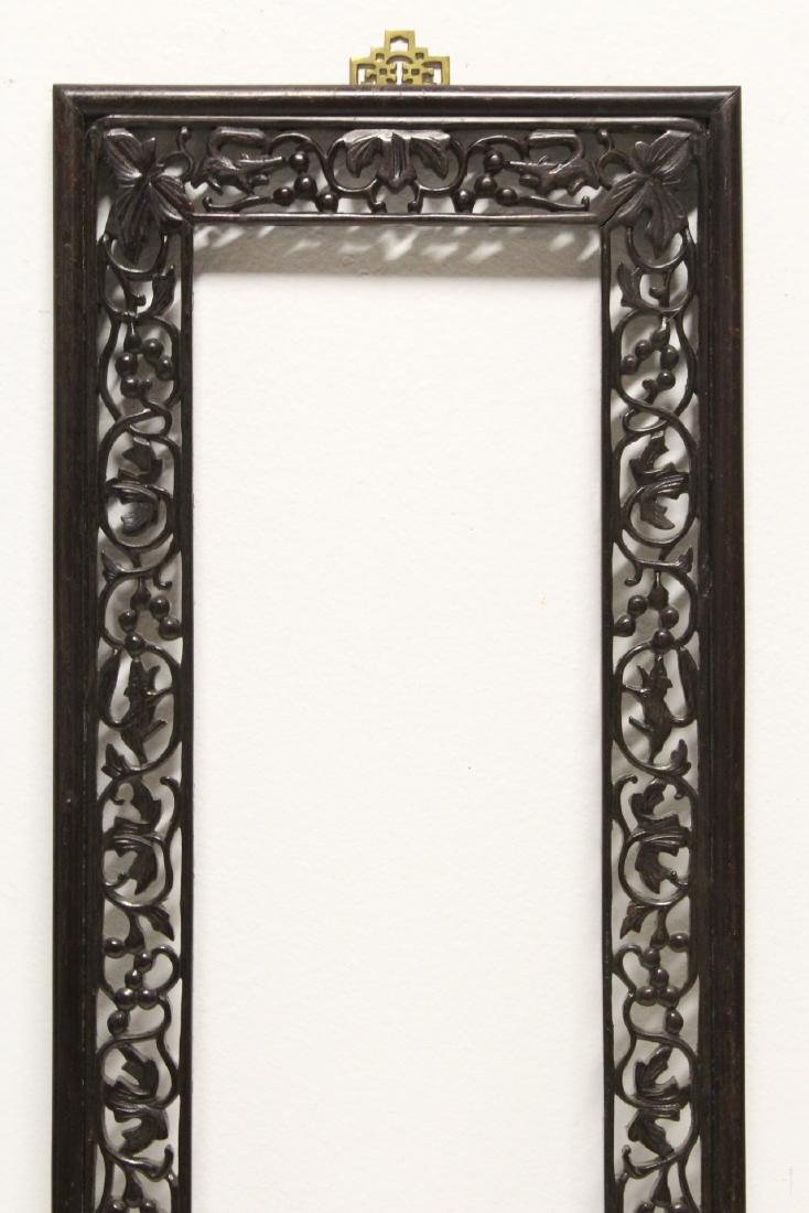 Pair Chinese rosewood frames - 6