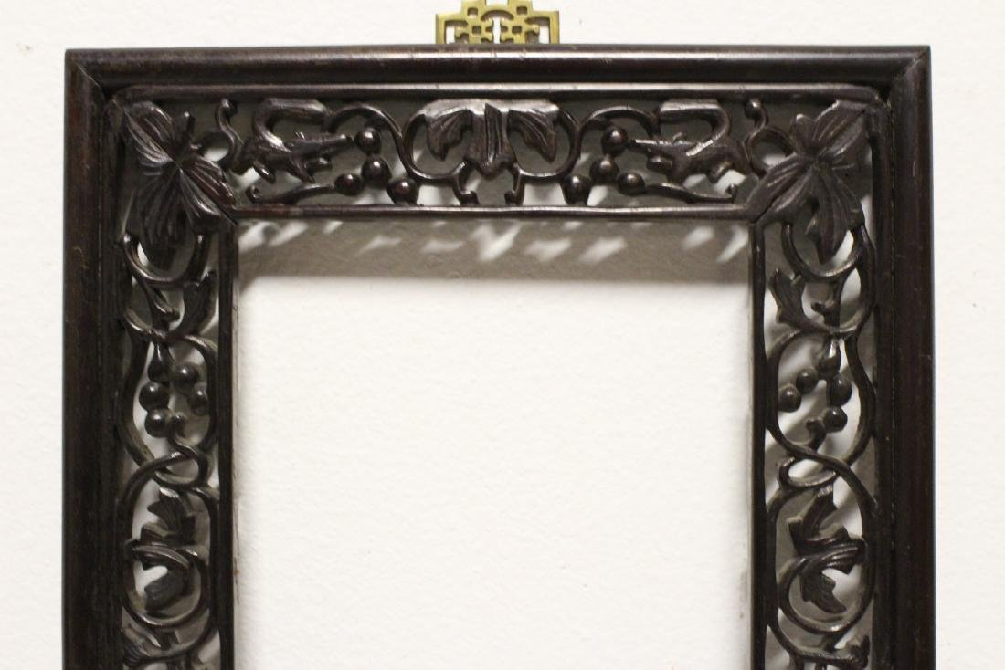 Pair Chinese rosewood frames - 7