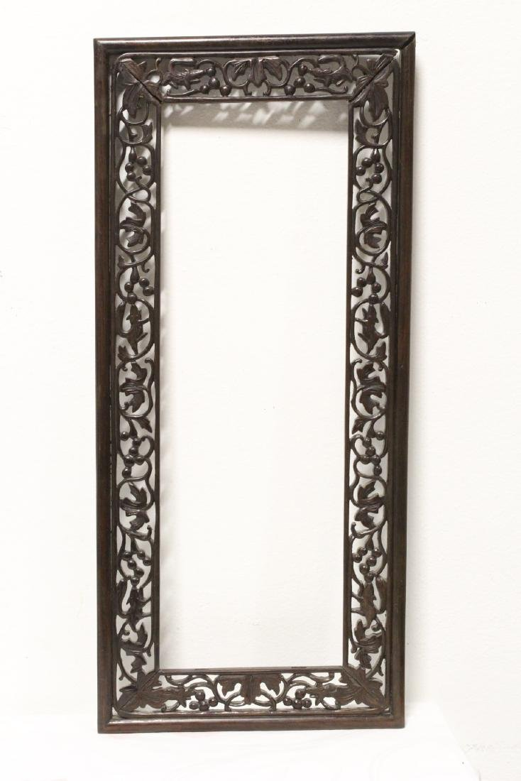 Pair Chinese rosewood frames - 9