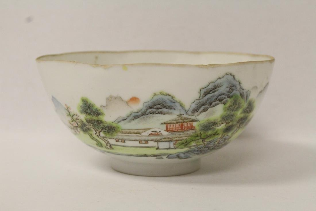 unusual Chinese antique octagonal egg shell bowl