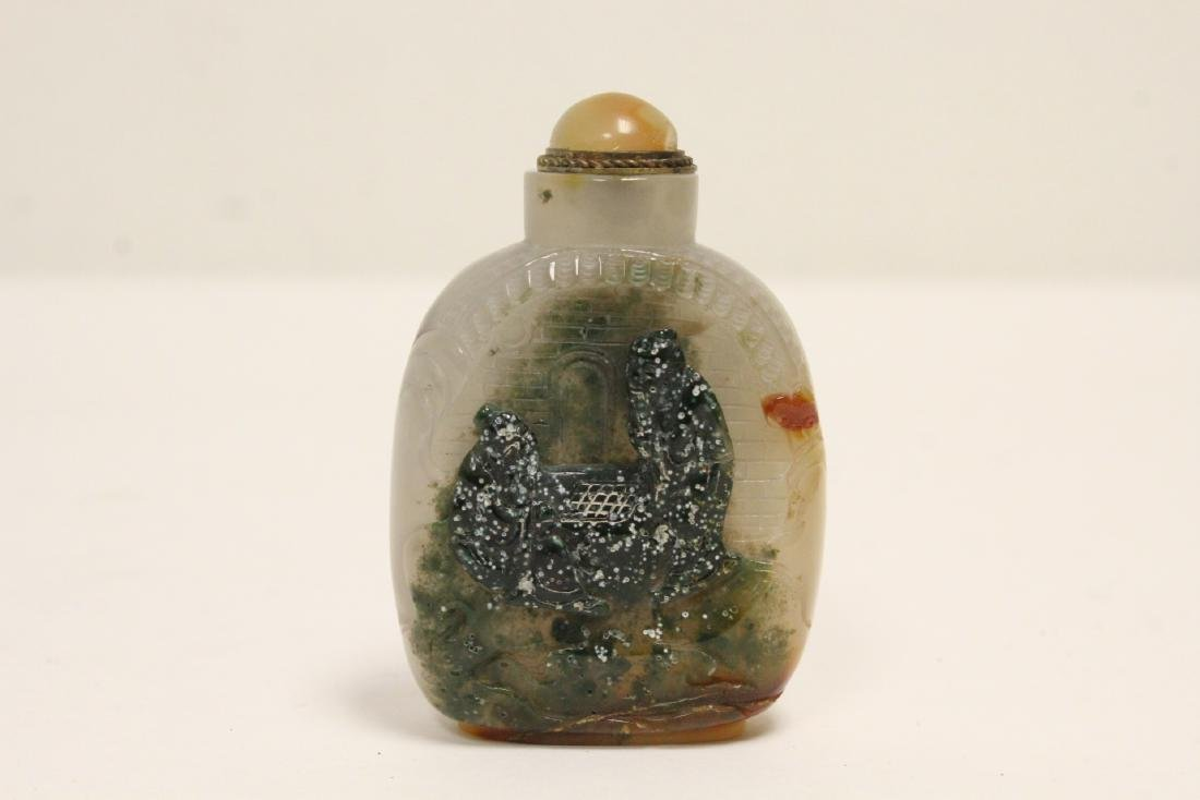 A fine natural agate carved snuff bottle
