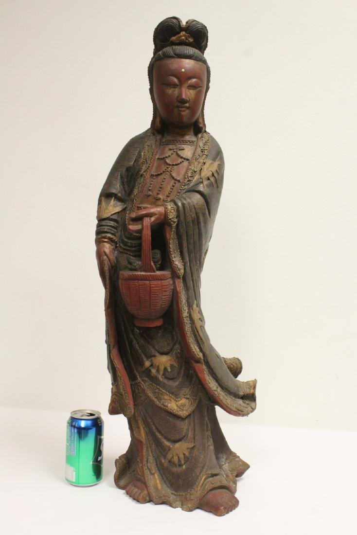 Antique Chinese wood carved Guanyin