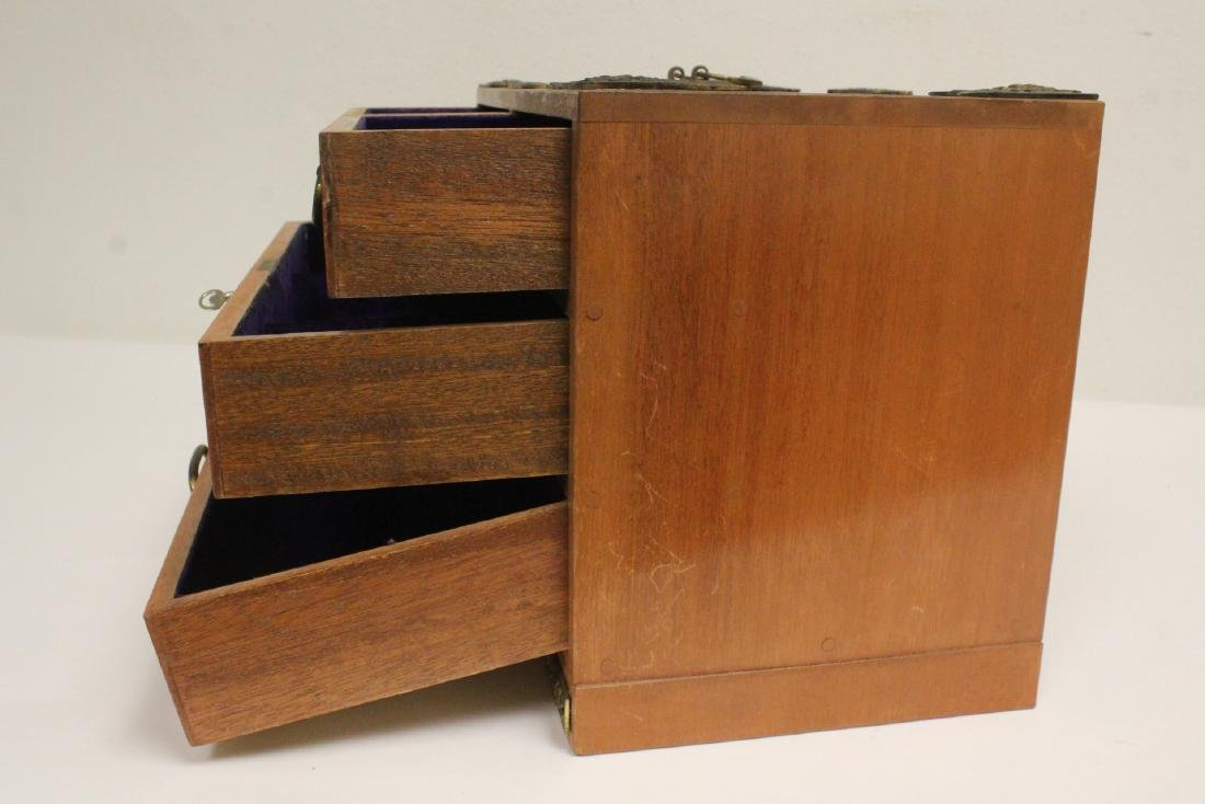 Chinese rosewood miniature chest - 8