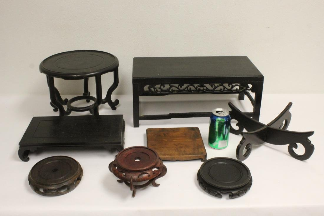 Lot of stands and table top pedestals