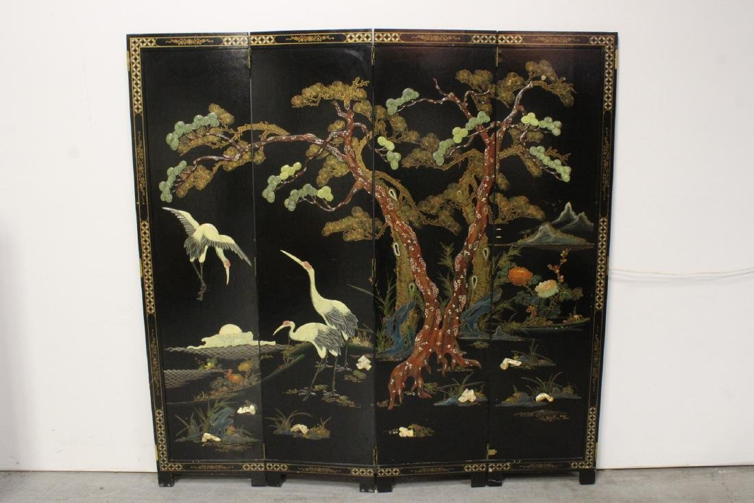 A fine Chinese 4-panel lacquer screen