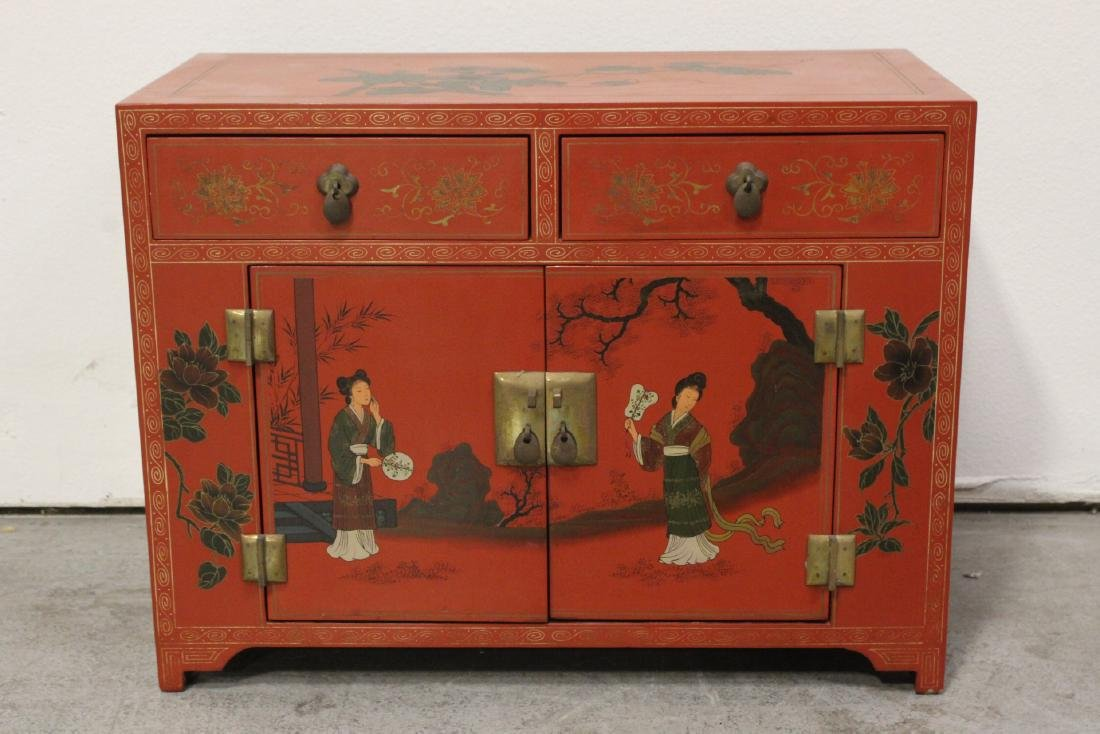 Chinese red lacquer miniature chest
