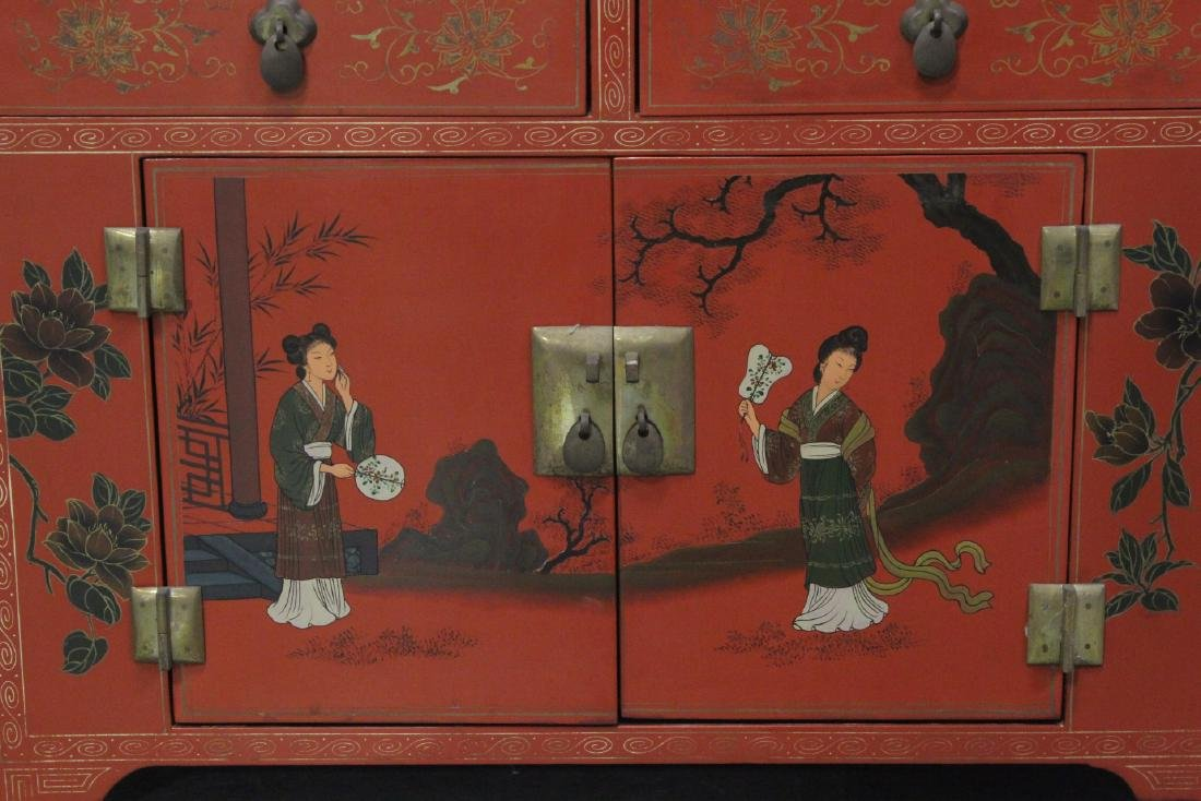 Chinese red lacquer miniature chest - 3