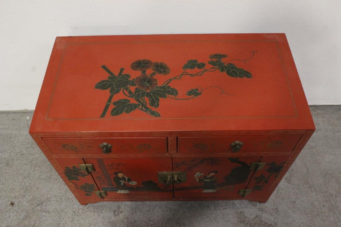 Chinese red lacquer miniature chest - 4