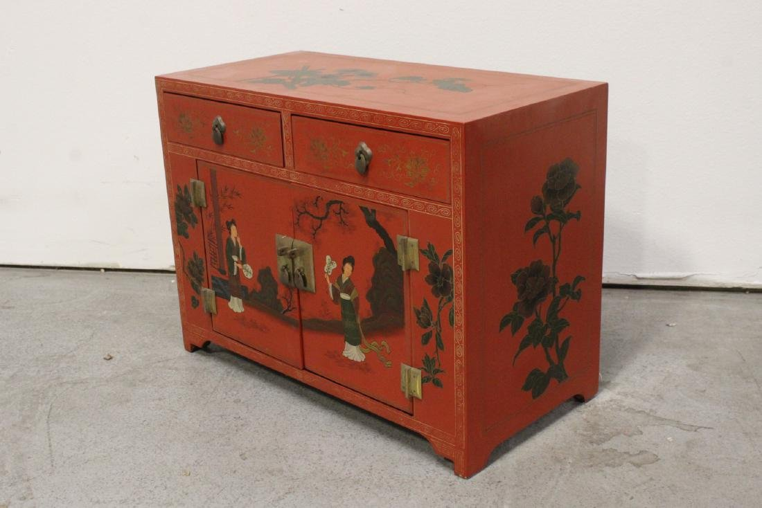 Chinese red lacquer miniature chest - 5