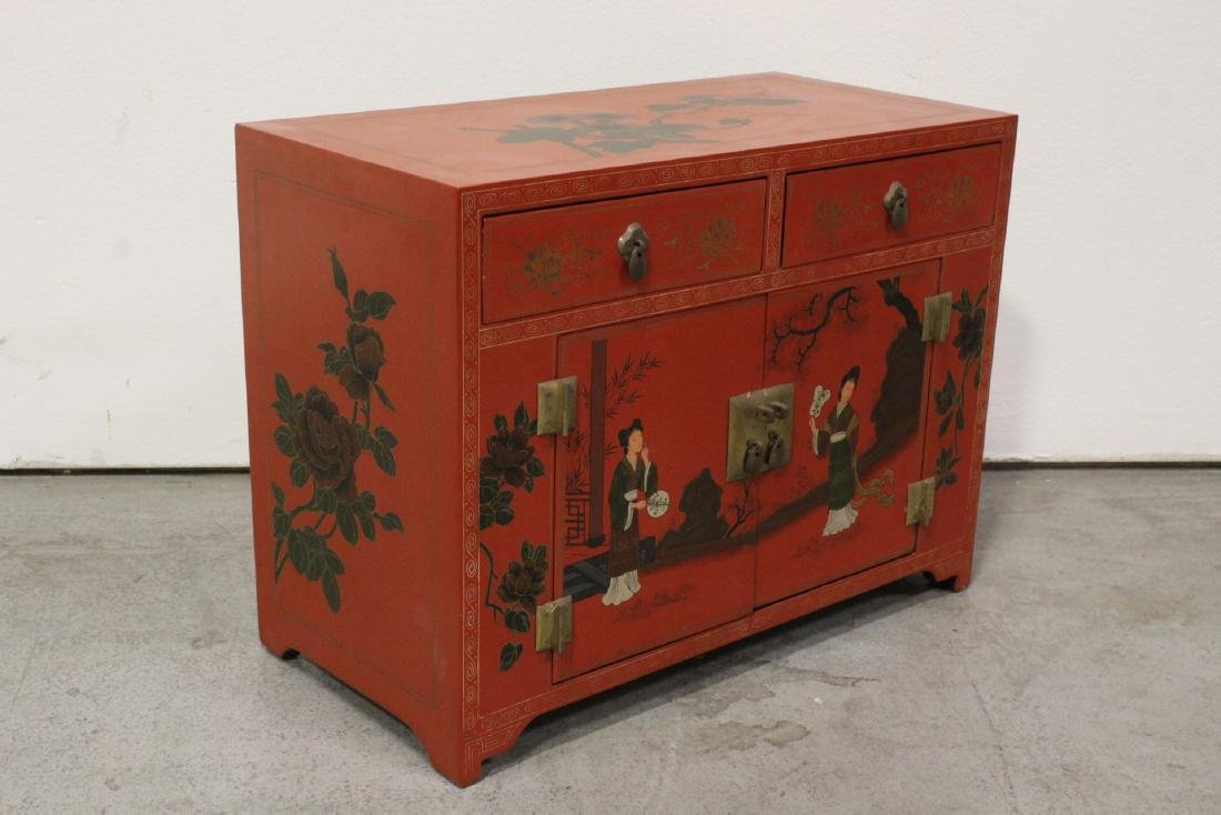 Chinese red lacquer miniature chest - 6