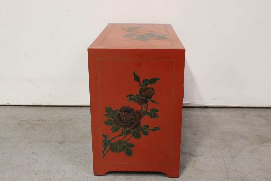 Chinese red lacquer miniature chest - 7
