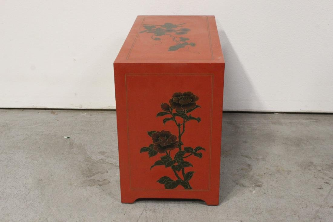 Chinese red lacquer miniature chest - 9