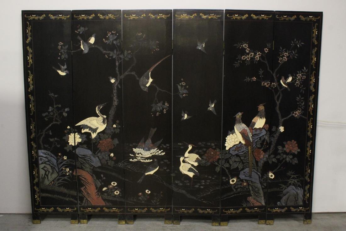 Chinese 6-panel coromandel room divider