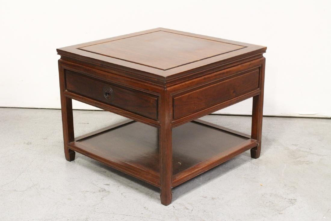 Chinese rosewood square low table - 4