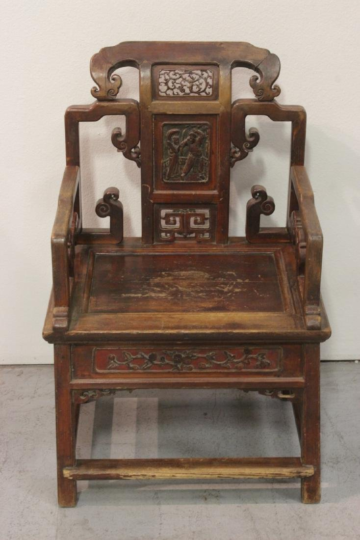 Chinese 19th c. painted armchair w/ hidden drawer