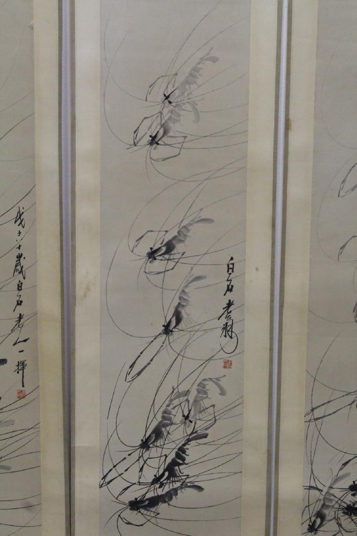 4 Chinese watercolor scrolls depicting shrimp - 4