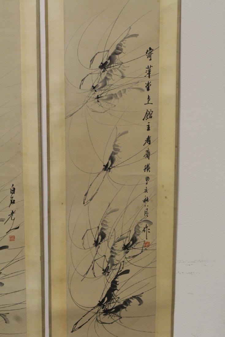4 Chinese watercolor scrolls depicting shrimp - 6