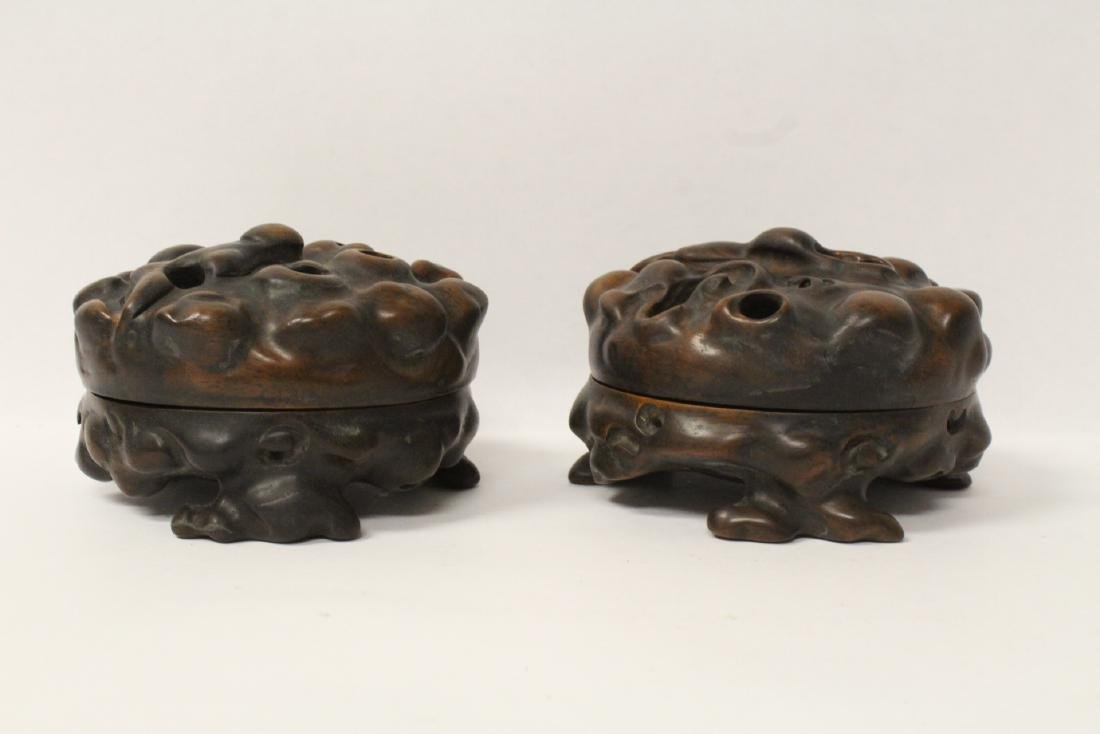 Pair Chinese rosewood boxes