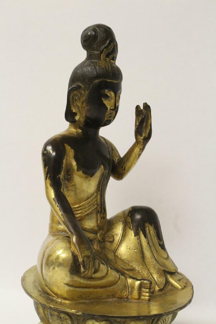 Chinese gilt bronze seated Buddha - 7