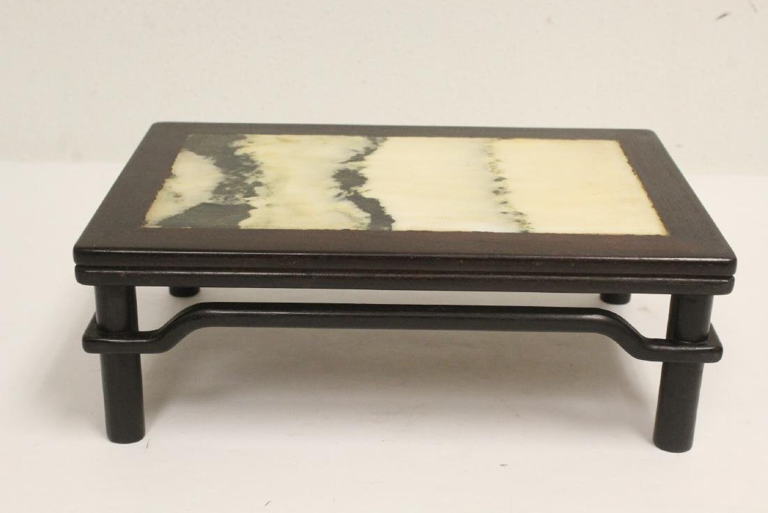 Chinese rosewood and marble table top pedestal
