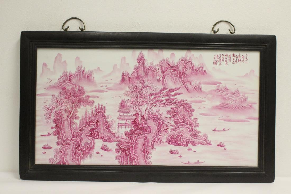 Chinese large red and white porcelain plaque