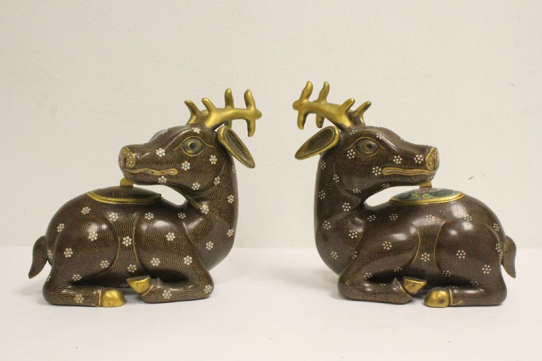 Pair Chinese cloisonne censer in the form of deer