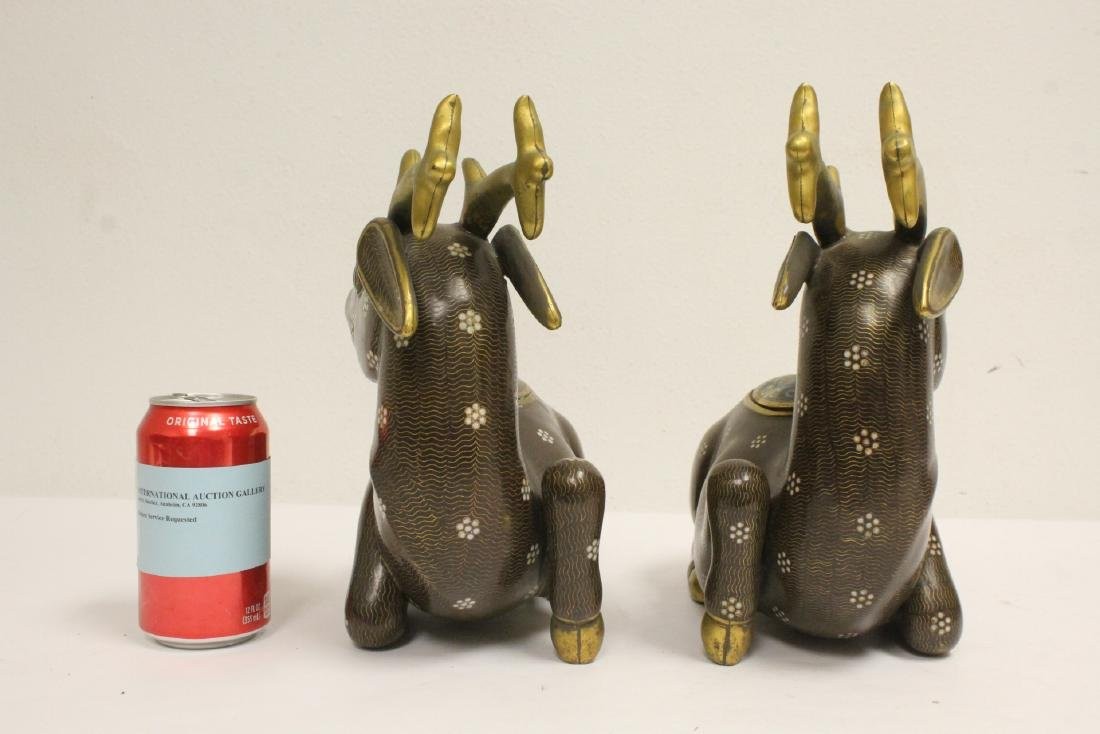 Pair Chinese cloisonne censer in the form of deer - 2