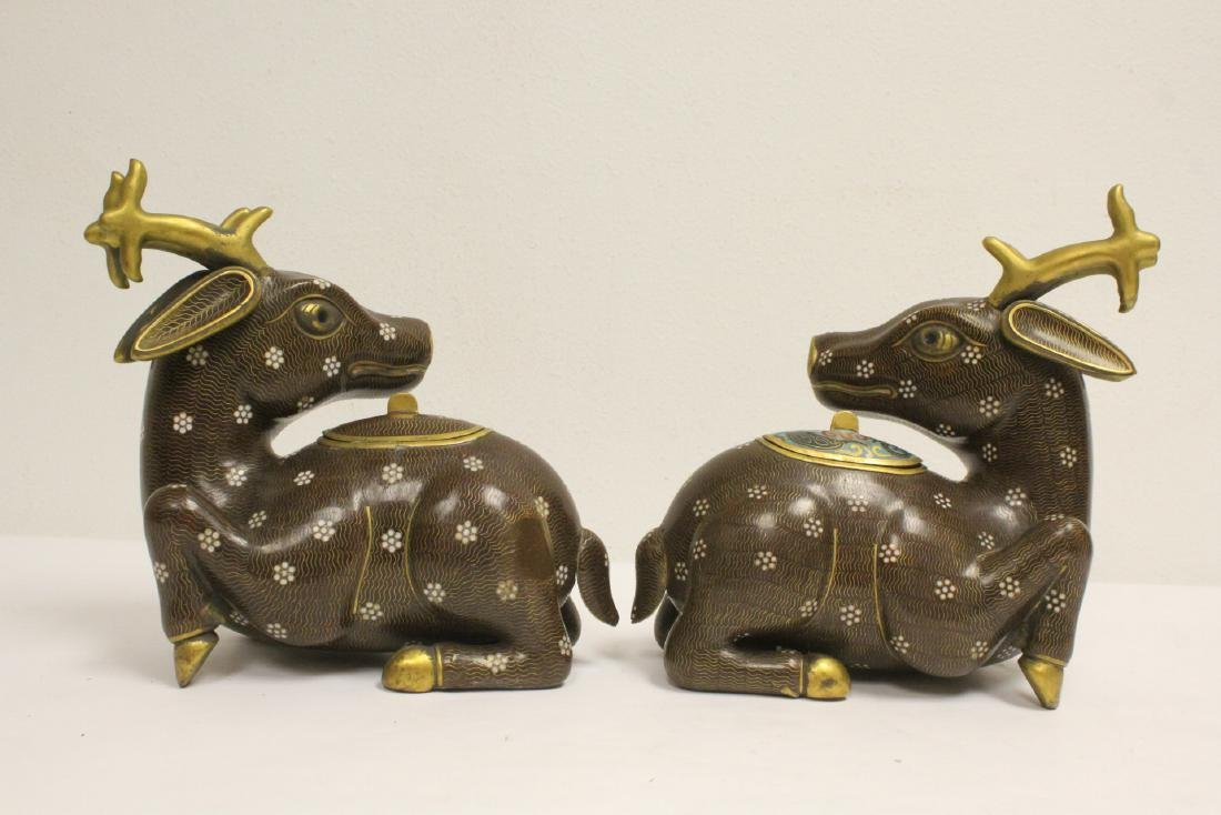Pair Chinese cloisonne censer in the form of deer - 3