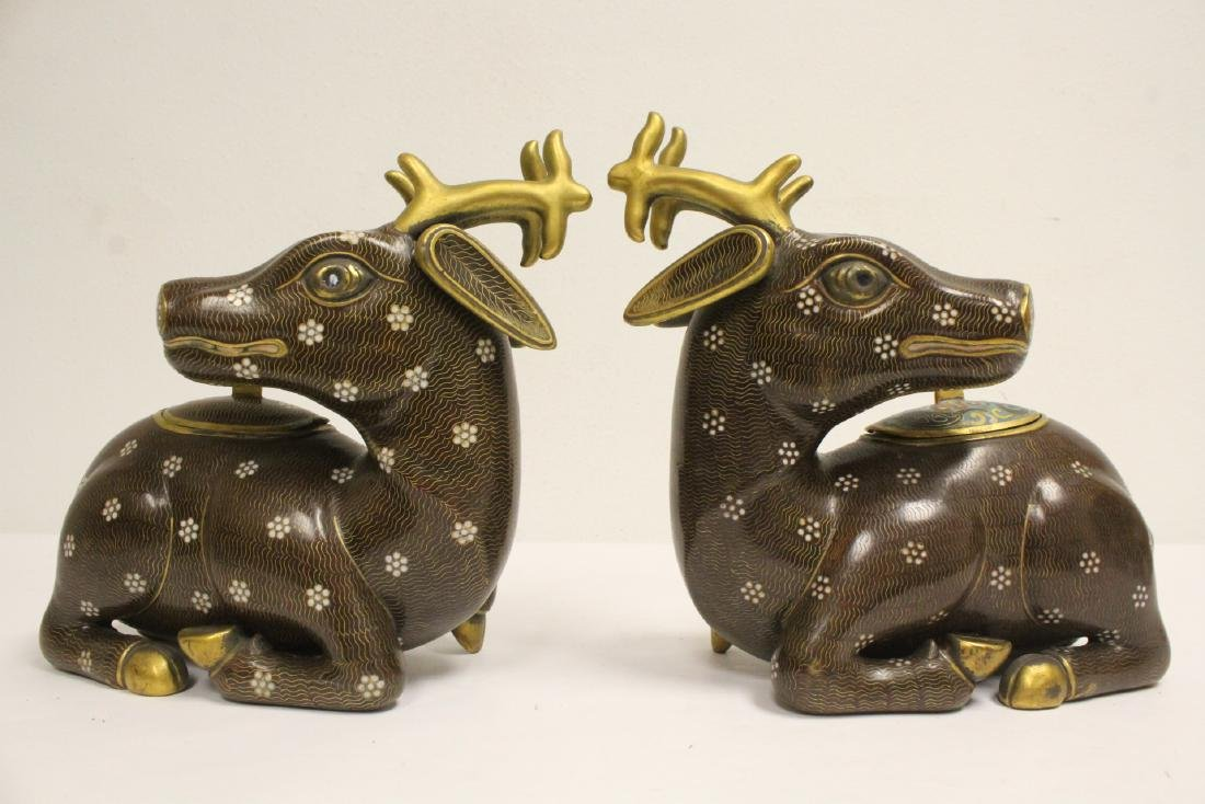 Pair Chinese cloisonne censer in the form of deer - 8