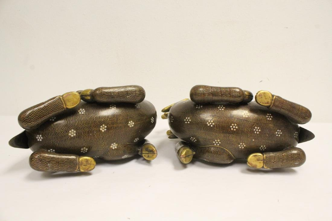 Pair Chinese cloisonne censer in the form of deer - 9