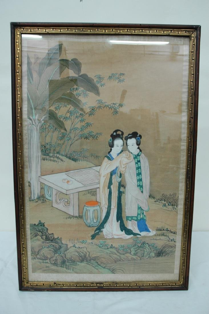 Framed vintage Chinese watercolor on silk