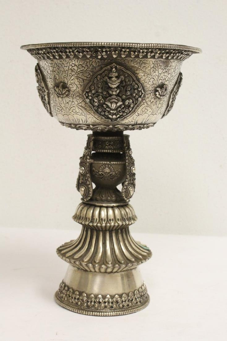 Chinese silver on bronze large pedestal bowl